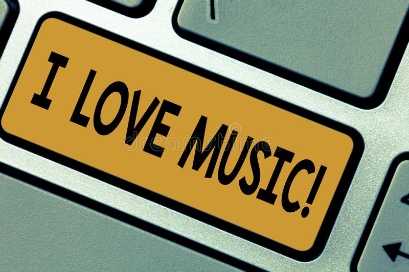 Writing note showing I Love Music. Business photo showcasing Having affection for good sounds lyric singers musicians stock images