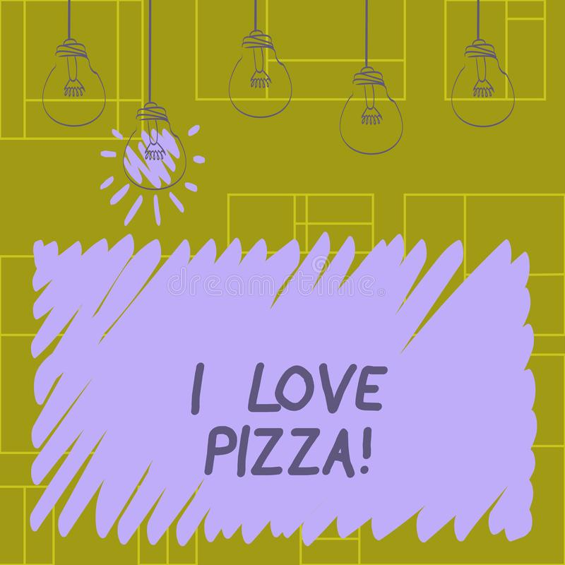 Writing note showing I Love Pizza. Business photo showcasing To like a lot Italian food with cheese ham pepperoni in. Slices stock illustration