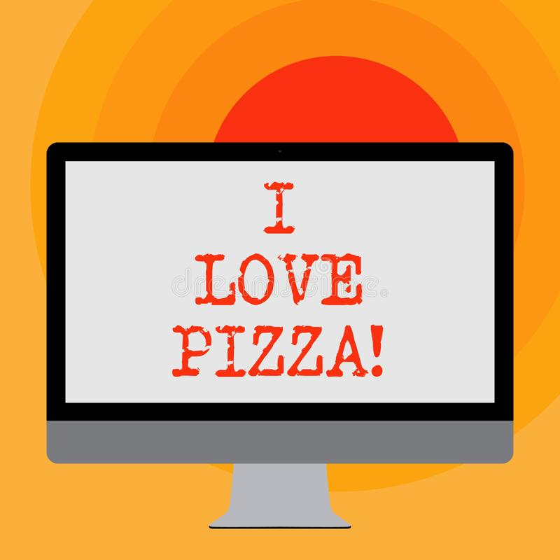 Writing note showing I Love Pizza. Business photo showcasing To like a lot Italian food with cheese ham pepperoni in. Slices vector illustration