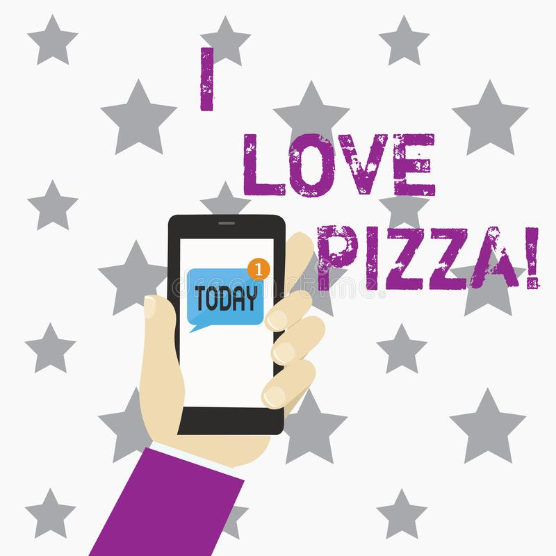 Writing note showing I Love Pizza. Business photo showcasing To like a lot Italian food with cheese ham pepperoni in. Slices royalty free illustration