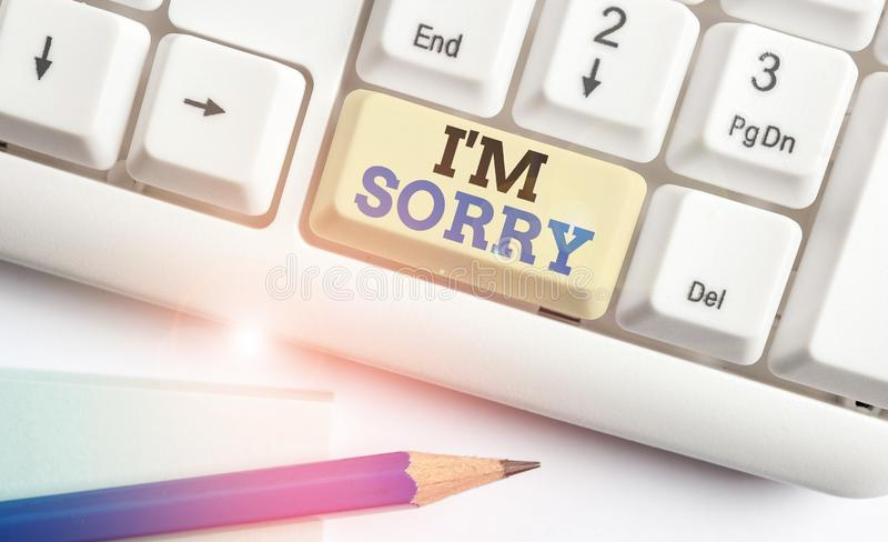 Writing note showing I M Sorry. Business photo showcasing Toask for forgiveness to someone you unintensionaly hurt White. Writing note showing I M Sorry stock photos