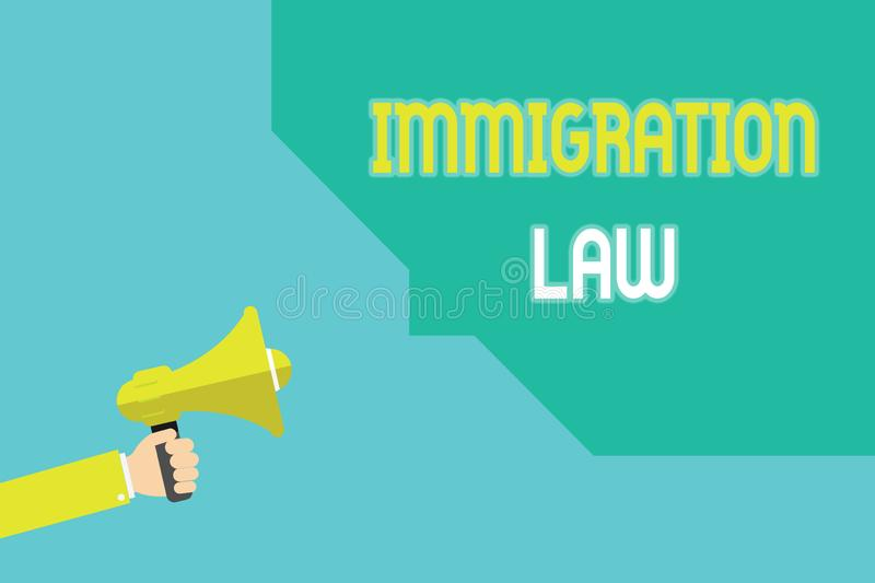 Writing note showing Immigration Law. Business photo showcasing Emigration of a citizen shall be lawful in making of travel.  royalty free illustration
