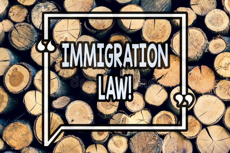 Writing note showing Immigration Law. Business photo showcasing National Regulations for immigrants Deportation rules Wooden. Background vintage wood wild stock photography