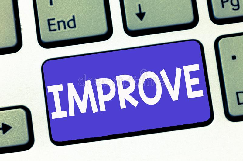 Writing note showing Improve. Business photo showcasing Make become better Development increase capacities Grow Change.  stock images