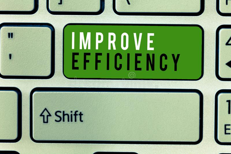 Writing note showing Improve Efficiency. Business photo showcasing Competency in performance with Least Waste of Effort.  royalty free stock images