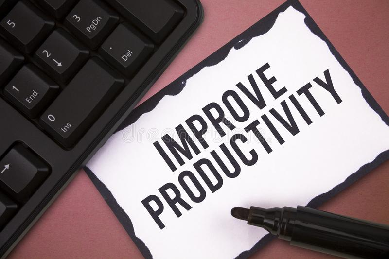 Writing note showing Improve Productivity. Business photo showcasing Enhance the Quality of Input Time and. Perforanalysisce stock photos