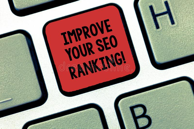 Writing note showing Improve Your Seo Ranking. Business photo showcasing Get better Improve in Search engine. Optimization Keyboard Intention to create computer stock photos