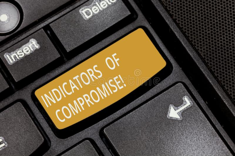 Writing note showing Indicators Of Compromise. Business photo showcasing artifact observed on a network Forensic data. Keyboard key Intention to create computer stock images