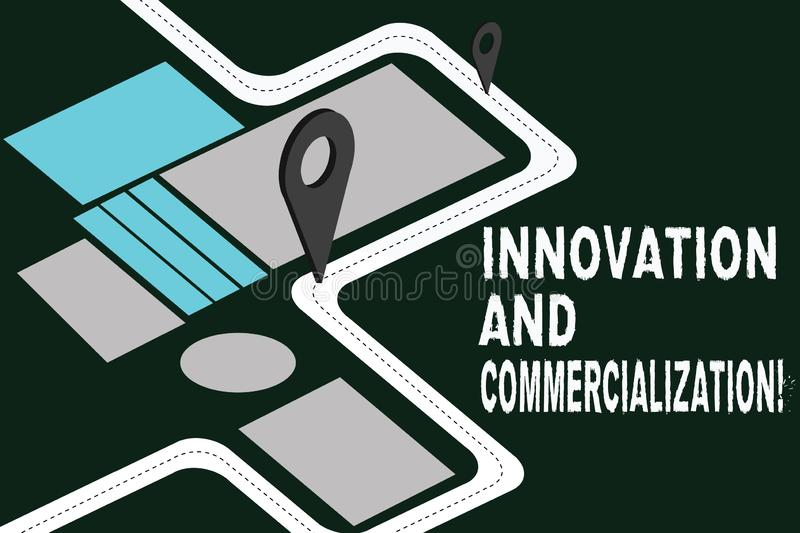 Writing note showing Innovation And Commercialization. Business photo showcasing Introducing a new product into commerce Road Map. Navigation Marker 3D Locator royalty free illustration