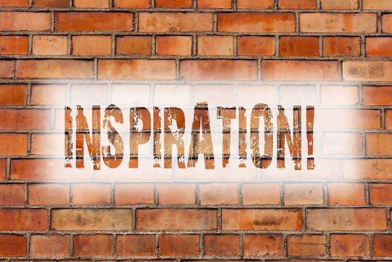 Writing note showing Inspiration. Business photo showcasing Stimulation to feel or do something creative Brick Wall art like. Graffiti motivational call written royalty free stock image