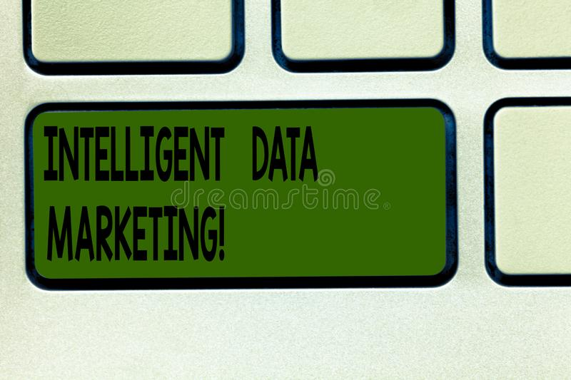 Writing note showing Intelligent Data Marketing. Business photo showcasing Information relevant to a target account s is. Market Keyboard key Intention to royalty free stock photos