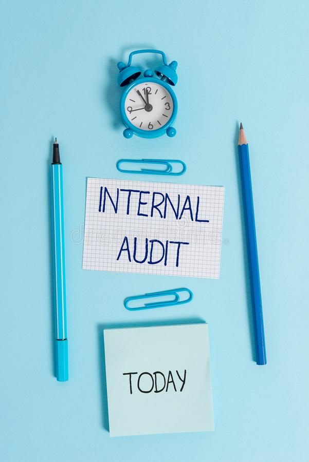 Writing note showing Internal Audit. Business photo showcasing Evaluates the effectiveness of the controls and processes. Writing note showing Internal Audit royalty free stock photo