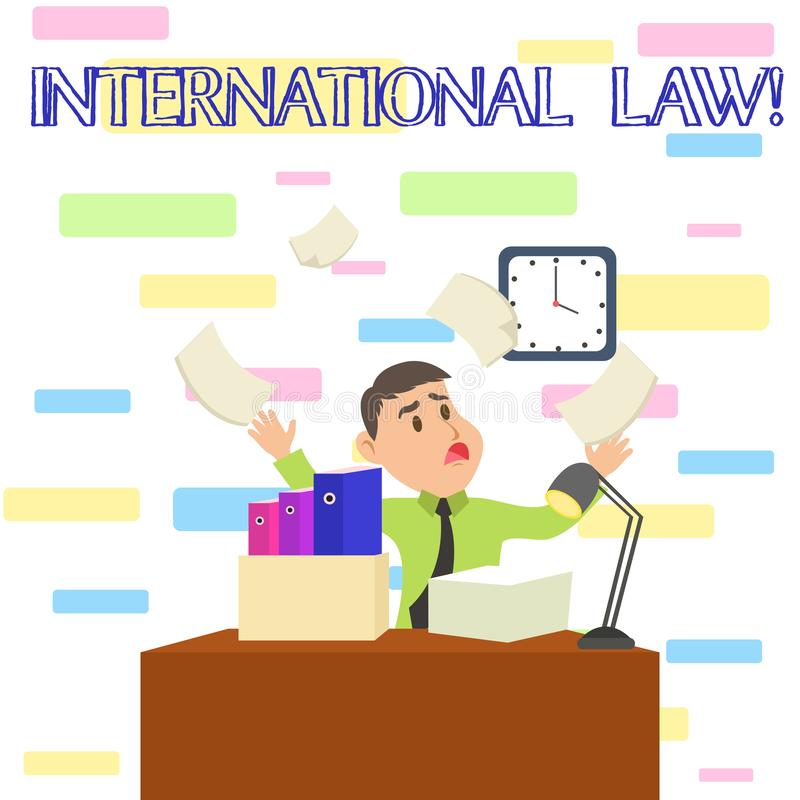 Writing note showing International Law. Business photo showcasing system of treaties and agreements between nations Male. Writing note showing International Law stock illustration