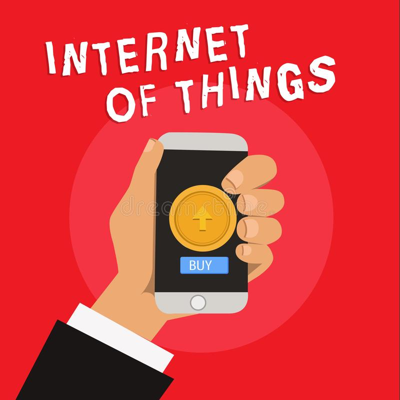 Writing note showing Internet Of Things. Business photo showcasing connection of Devices to the Net to Send Receive Data.  vector illustration