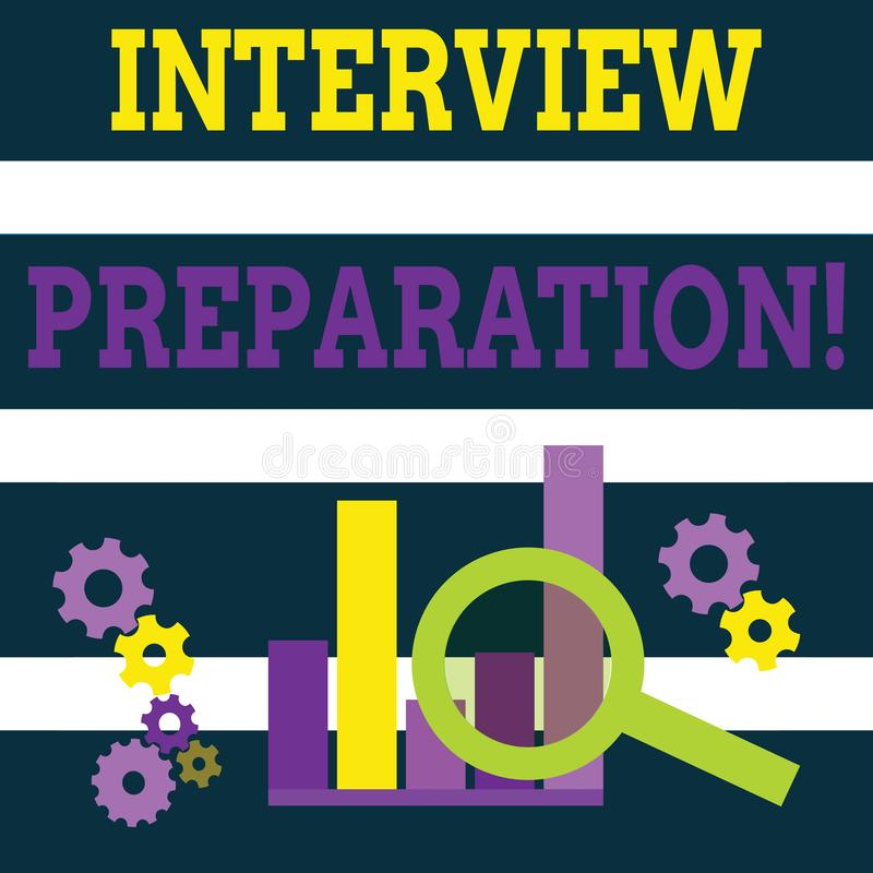 Writing note showing Interview Preparation. Business photo showcasing Candidate getting ready for the employer job. Writing note showing Interview Preparation stock illustration