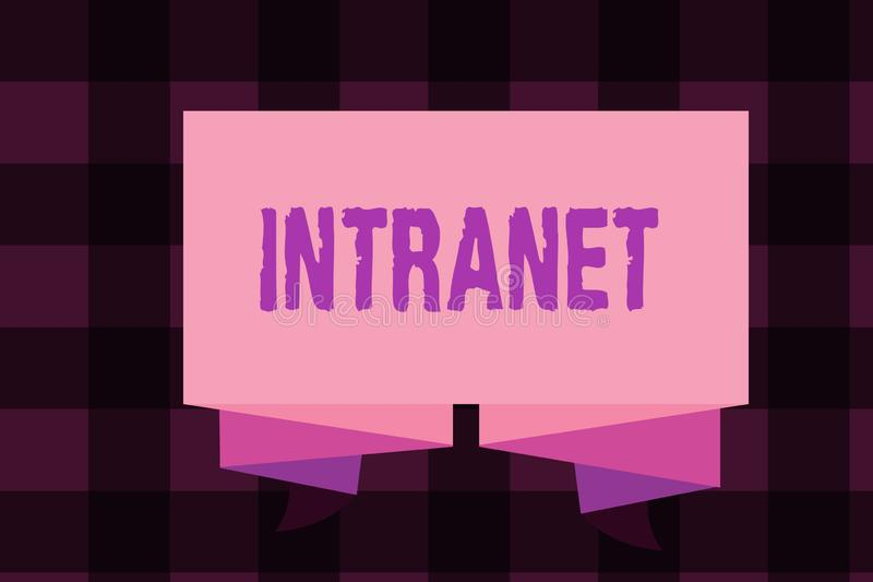 Writing note showing Intranet. Business photo showcasing local or restricted communications network especially private. One stock illustration