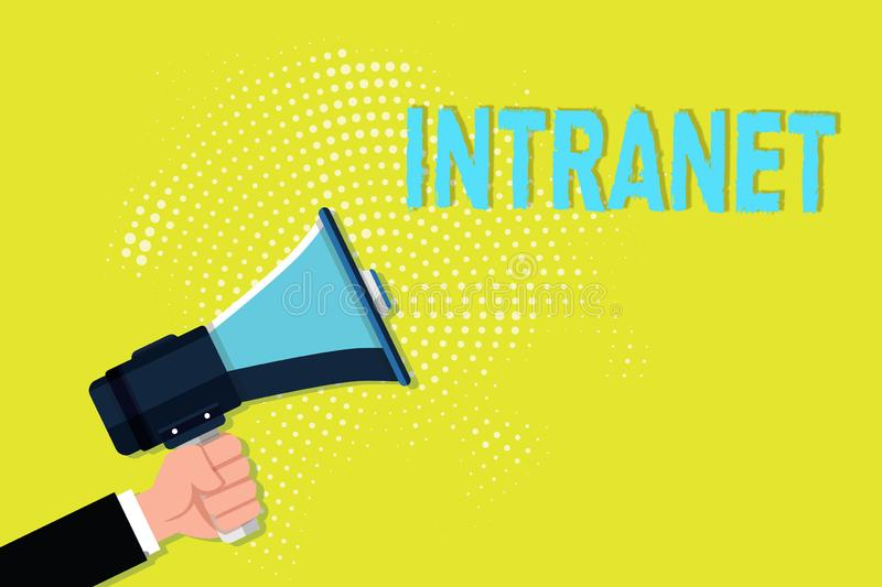 Writing note showing Intranet. Business photo showcasing local or restricted communications network especially private. One royalty free illustration