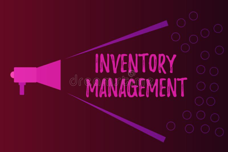 Writing note showing Inventory Management. Business photo showcasing Overseeing Controlling Storage of Stocks and Prices.  royalty free illustration
