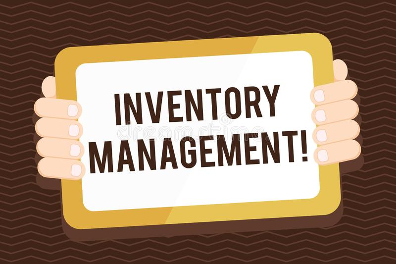 Writing note showing Inventory Management. Business photo showcasing supervision of noncapitalized assets and stock. Writing note showing Inventory Management royalty free illustration