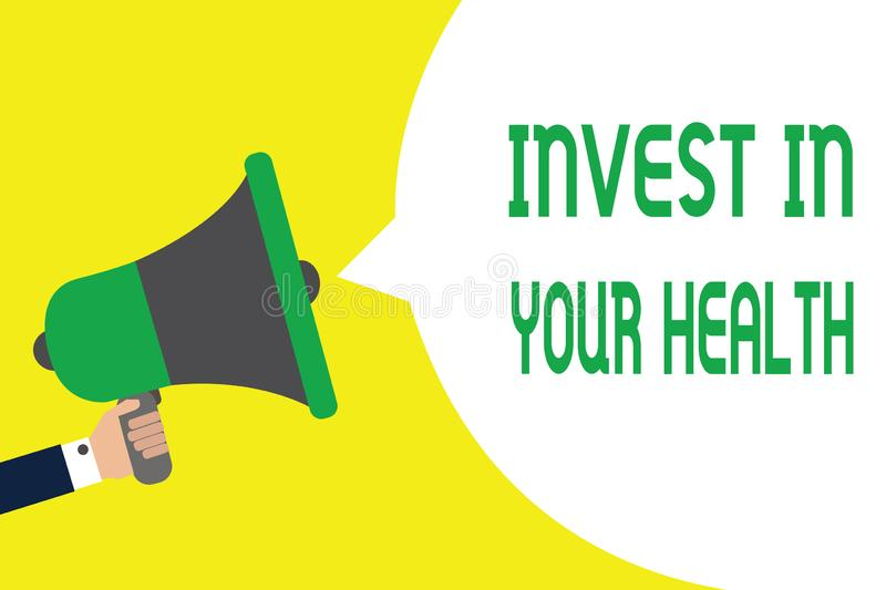 Writing note showing Invest In Your Health. Business photo showcasing Live a Healthy Lifestyle Quality Food for Wellness Man holdi. Ng megaphone loudspeaker stock illustration