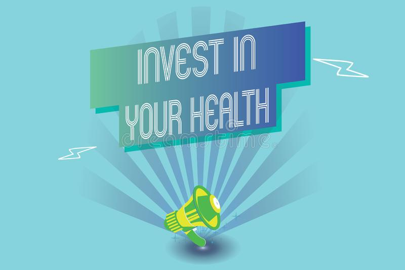 Writing note showing Invest In Your Health. Business photo showcasing Live a Healthy Lifestyle Quality Food for Wellness.  royalty free illustration