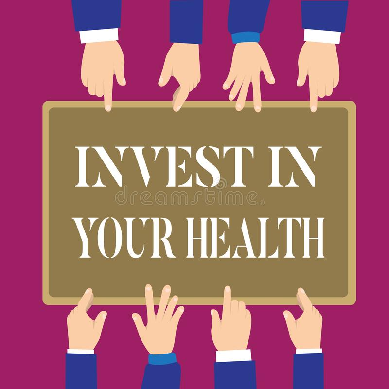 Writing note showing Invest In Your Health. Business photo showcasing Live a Healthy Lifestyle Quality Food for Wellness.  vector illustration