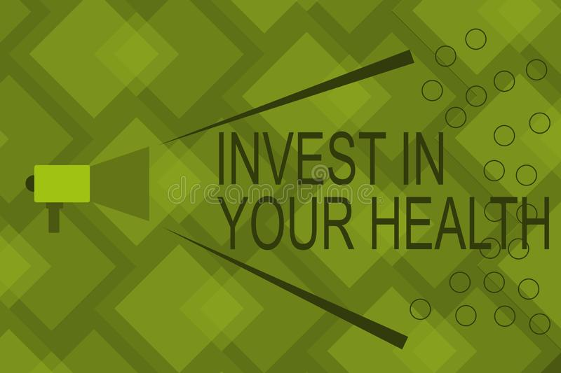 Writing note showing Invest In Your Health. Business photo showcasing Live a Healthy Lifestyle Quality Food for Wellness.  stock illustration