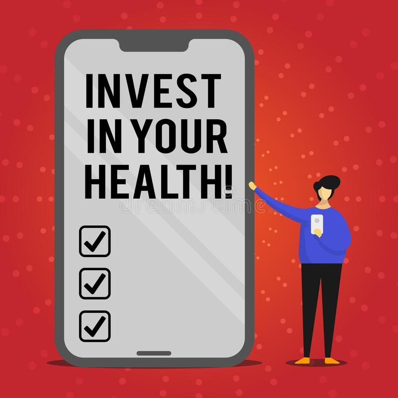 Writing note showing Invest In Your Health. Business photo showcasing Spend money in demonstratingal healthcare. Preventive Tests vector illustration