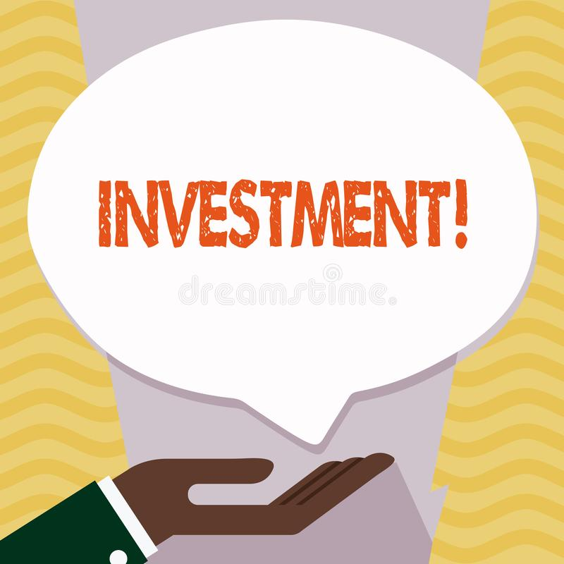 Writing note showing Investment. Business photo showcasing To put Money Time into something to make profit. Writing note showing Investment. Business photo stock illustration
