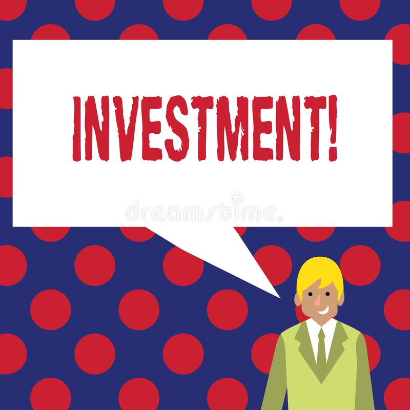 Writing note showing Investment. Business photo showcasing To put Money Time into something to make profit. Writing note showing Investment. Business photo vector illustration