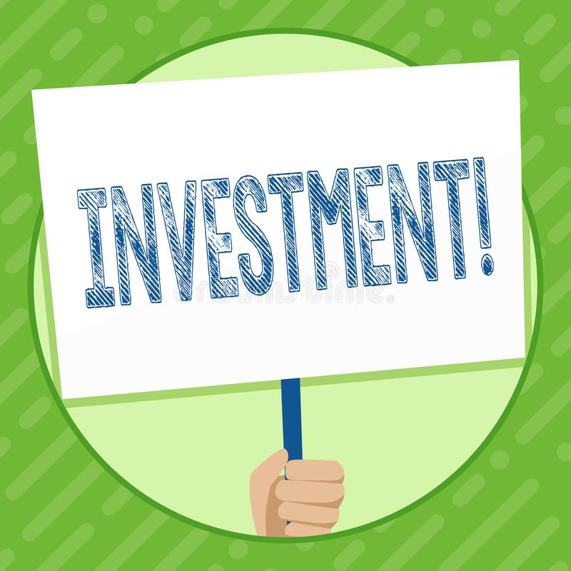 Writing note showing Investment. Business photo showcasing To put Money Time into something to make profit. Writing note showing Investment. Business photo royalty free illustration