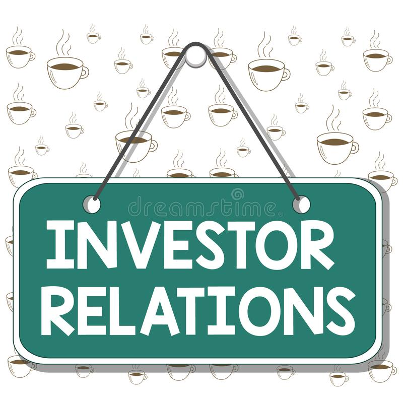 Writing note showing Investor Relations. Business photo showcasing analysisagement responsibility that integrates. Writing note showing Investor Relations stock illustration
