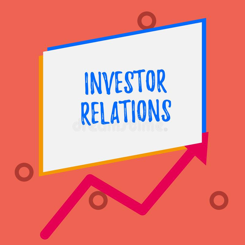 Writing note showing Investor Relations. Business photo showcasing analysisagement responsibility that integrates. Writing note showing Investor Relations vector illustration