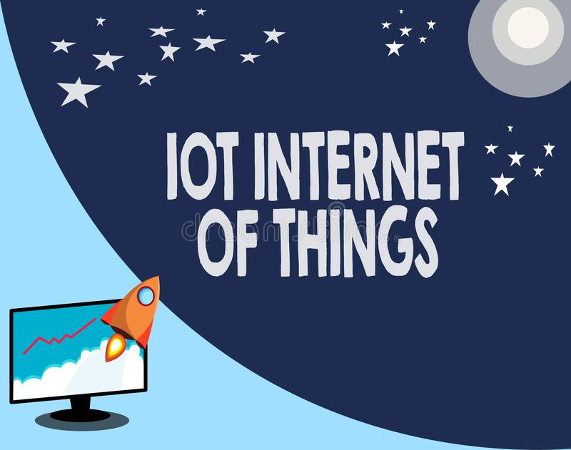 Writing note showing Iot Internet Of Things. Business photo showcasing Network of Physical Devices send and receive Data.  stock illustration