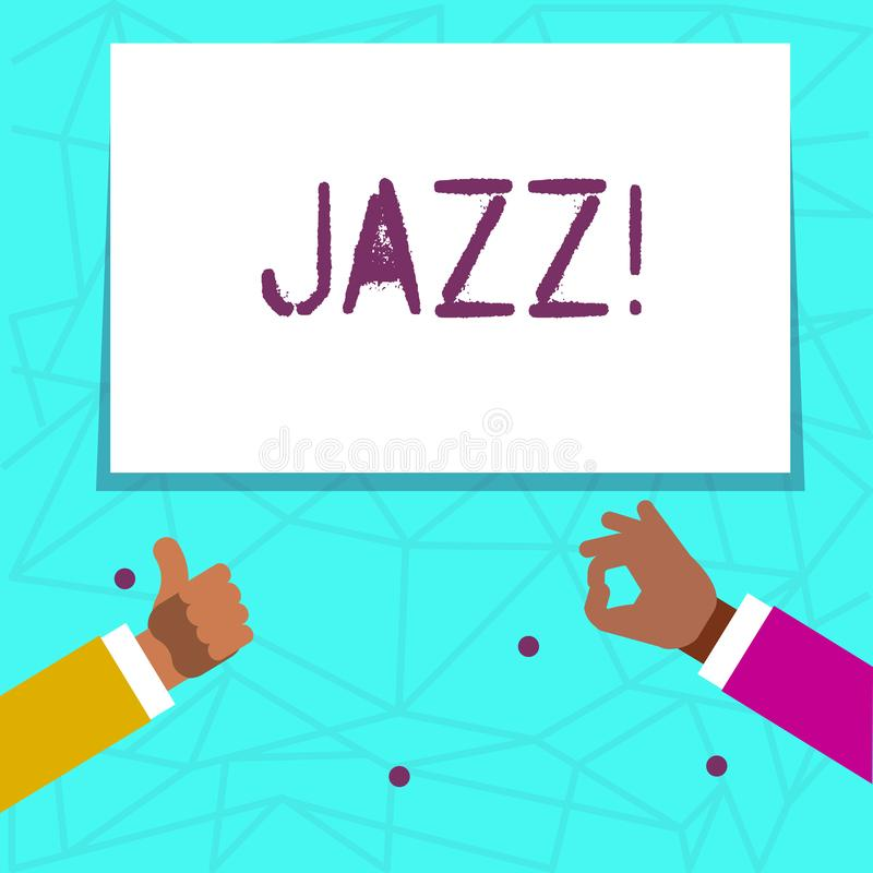 Writing note showing Jazz. Business photo showcasing Type of music of black American origin Musical genre Strong rhythm. Writing note showing Jazz. Business stock illustration