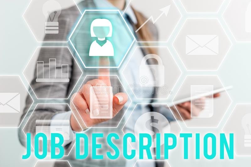 Writing note showing Job Description. Business photo showcasing a formal account of an employee s is responsibilities. Writing note showing Job Description stock image