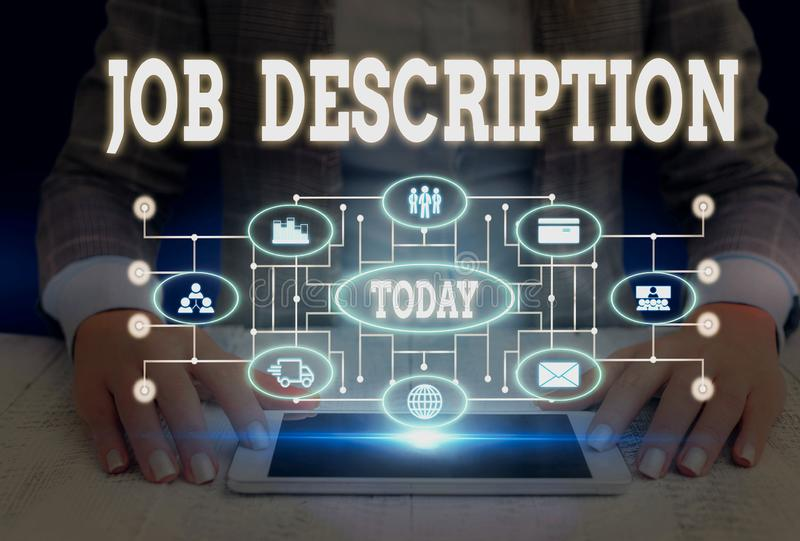 Writing note showing Job Description. Business photo showcasing a formal account of an employee s is responsibilities. Writing note showing Job Description stock photos