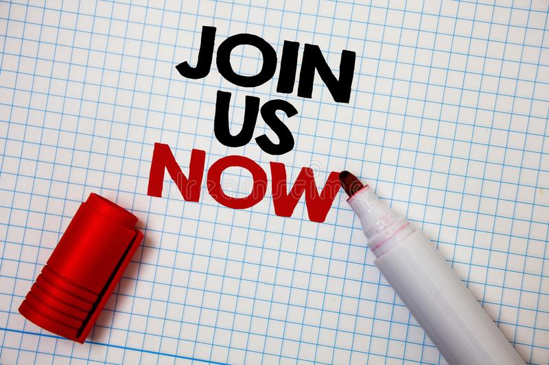 Writing note showing Join Us Now. Business photo showcasing Enroll in community Register in website or form Recruit Graph paper g. Rey important thoughts idea stock photography