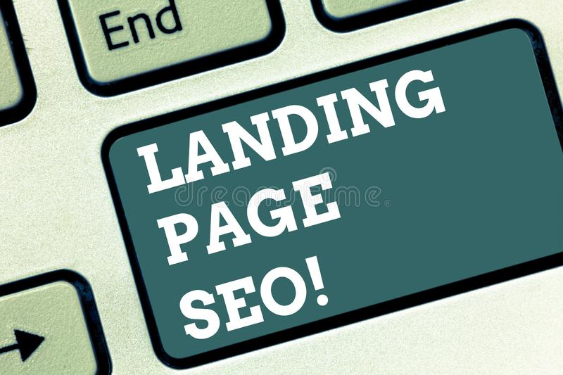 Writing note showing Landing Page Seo. Business photo showcasing web that visitor arrive after they click link search. Engine Keyboard key Intention to create royalty free illustration