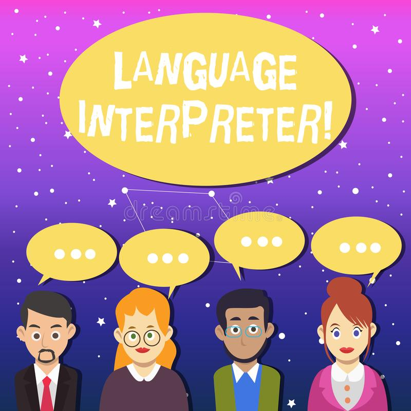 Writing note showing Language Interpreter. Business photo showcasing Convey messages between two different languages. Writing note showing Language Interpreter royalty free illustration