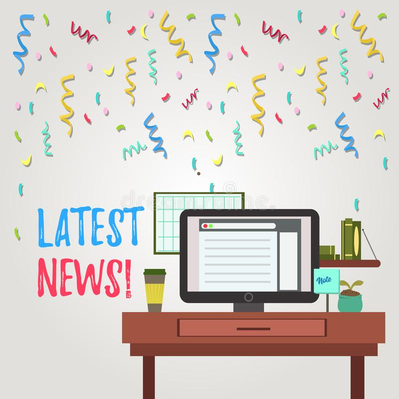 Writing note showing Latest News. Business photo showcasing something that is most recent or currently just happened. Writing note showing Latest News. Business royalty free illustration