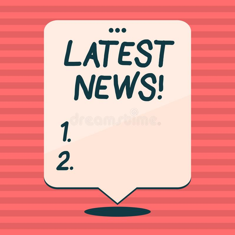 Writing note showing Latest News. Business photo showcasing something that is most recent or currently just happened. Writing note showing Latest News. Business stock illustration