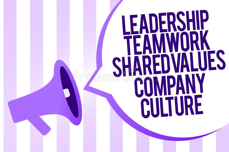 Writing note showing Leadership Teamwork Shared Values Company Culture. Business photo showcasing Group Team Success Megaphone lou. Dspeaker purple stripes royalty free stock photo