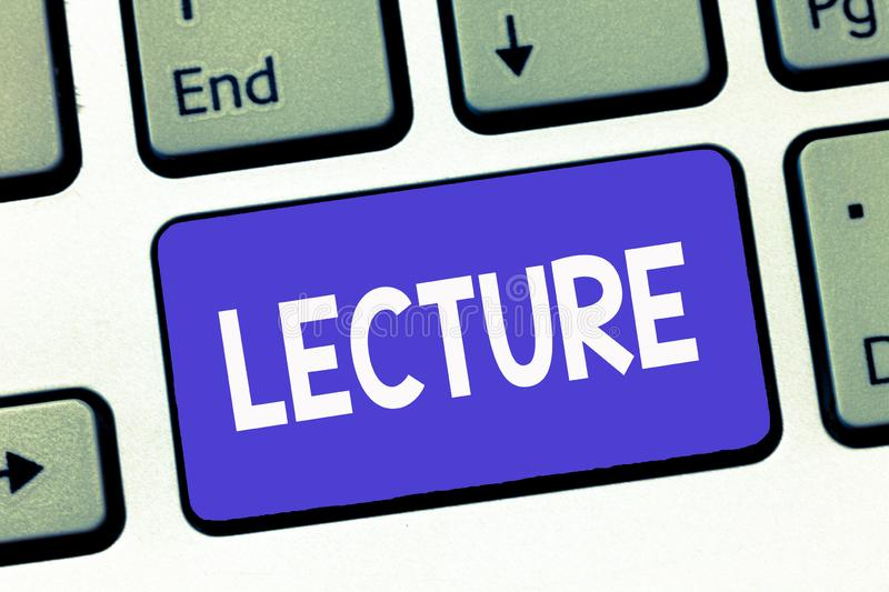 Writing note showing Lecture. Business photo showcasing Educational talk to students audience Long speech for teaching.  stock image
