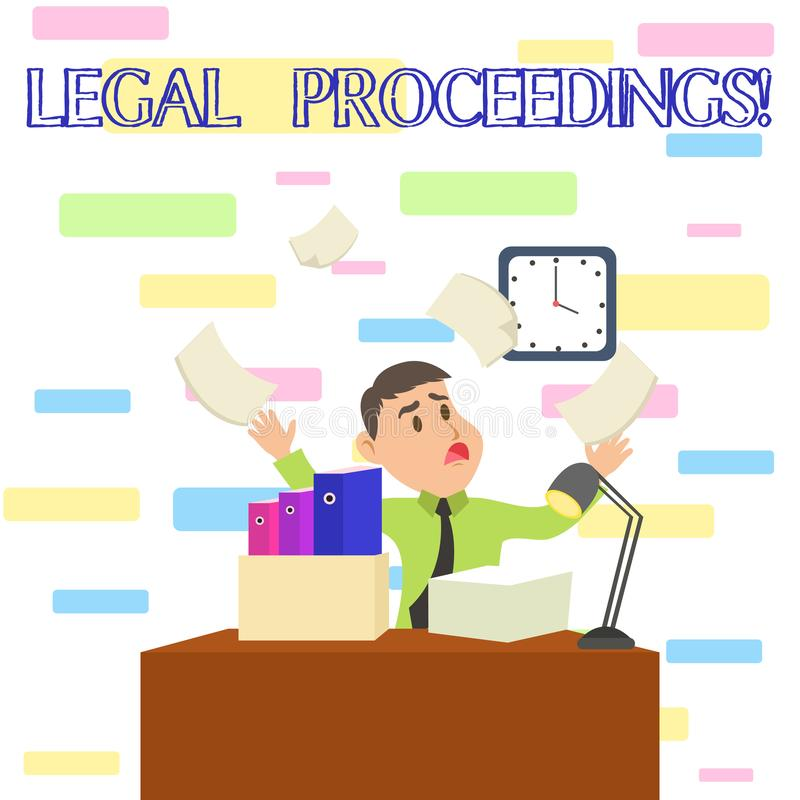 Writing note showing Legal Proceedings. Business photo showcasing procedure instituted in a court of law to acquire. Writing note showing Legal Proceedings vector illustration