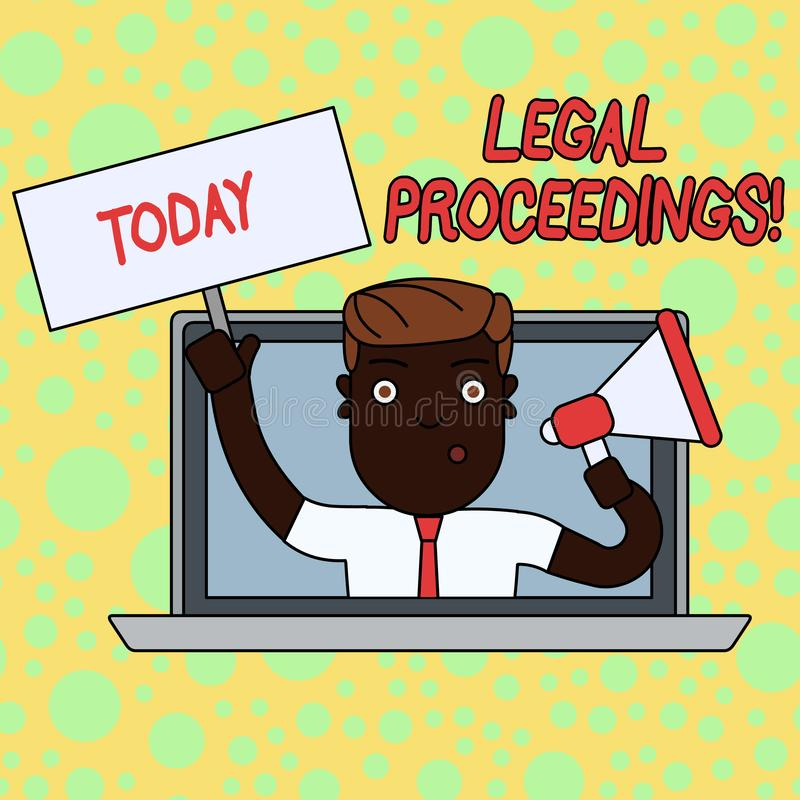 Writing note showing Legal Proceedings. Business photo showcasing procedure instituted in a court of law to acquire. Writing note showing Legal Proceedings royalty free illustration