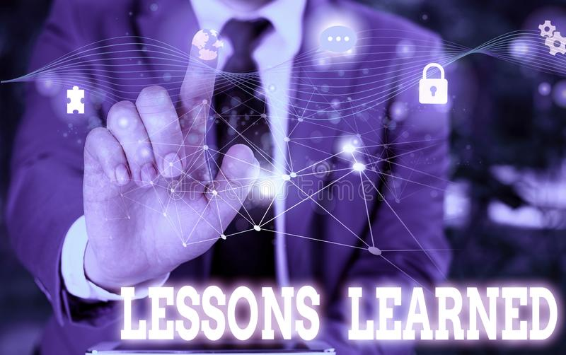 Writing note showing Lessons Learned. Business photo showcasing the knowledge or understanding gained by experience. Writing note showing Lessons Learned stock photo