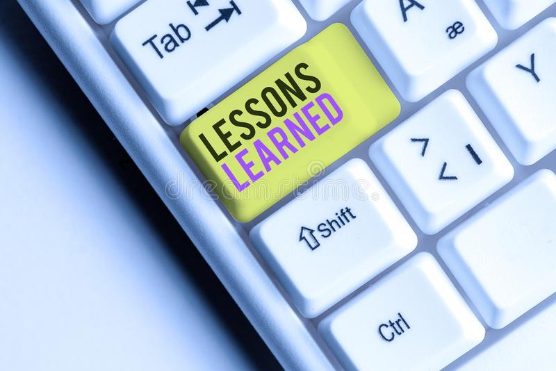 Writing note showing Lessons Learned. Business photo showcasing the knowledge or understanding gained by experience. Writing note showing Lessons Learned royalty free stock images
