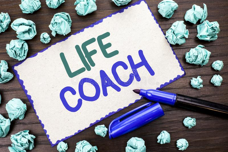 Writing note showing Life Coach. Business photo showcasing Mentoring Guiding Career Guidance Encourage Trainer Mentor written on. Writing note showing Life Coach stock image