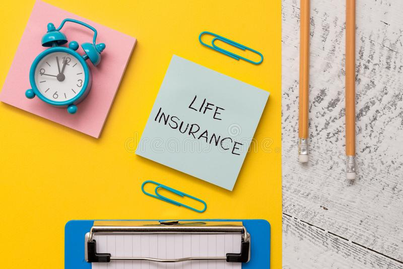 Writing note showing Life Insurance. Business photo showcasing Payment of death benefit or injury Burial or medical. Writing note showing Life Insurance stock image